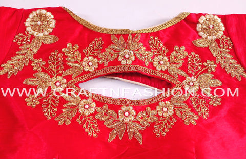 Sari Blouse With Zari Thread Embroidery Work