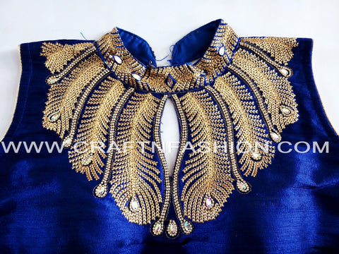 Zari Thread Embroidery Work Crop Top/Blouse