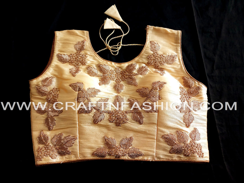2018 Fashion Party Wear Golden Blouse/Crop Top