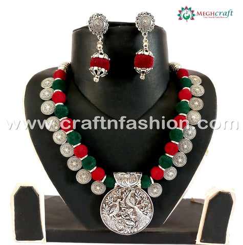 Indian Tradition Woolen Beads Oxidized Necklace.