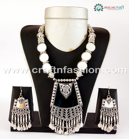 2018 Navratri Wear Mirror Work Oxidize Necklace Set.
