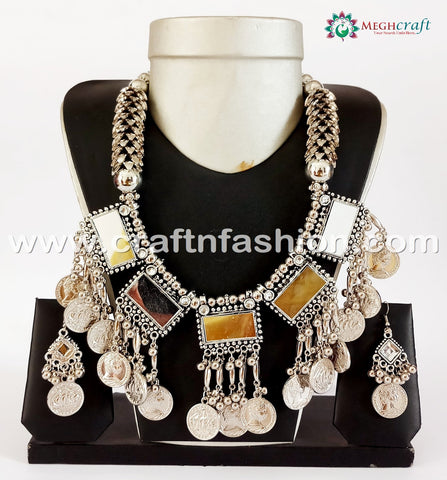 Indian Ethnic Heavy Mirror Work Necklace.