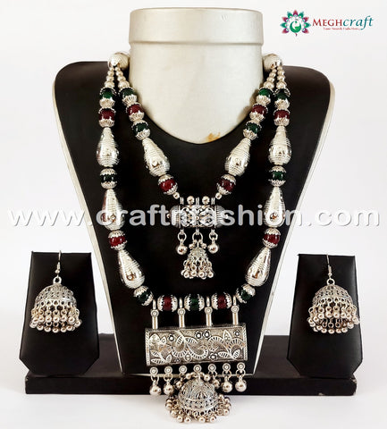 Gujarati Festival Wear Oxidized Necklace.