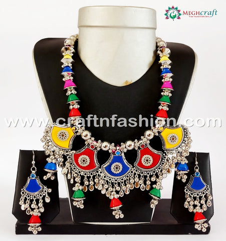 Gujarati Festival Wear Multi Coloured Beaded Oxidized Necklace.