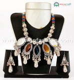 Beaded With Mirror Work Oxidized Necklace Set.