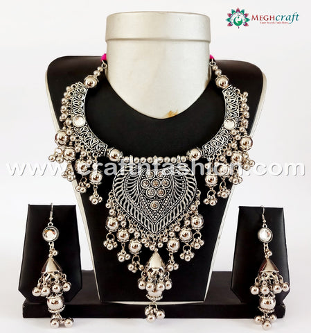 Fashionable Tribal Style Oxidized Necklace.
