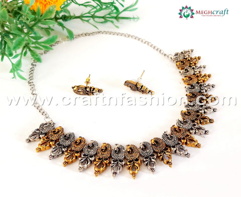 2018 Peacock Style Silver Gold Plated  Necklace.