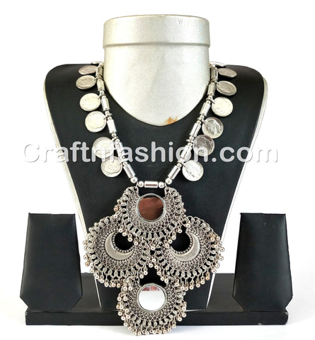 Big Pendant Afghani Style Tribal Necklace