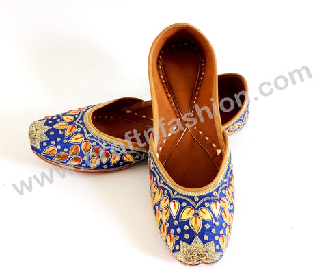 Blue Gota Patti Work Traditional Jutti