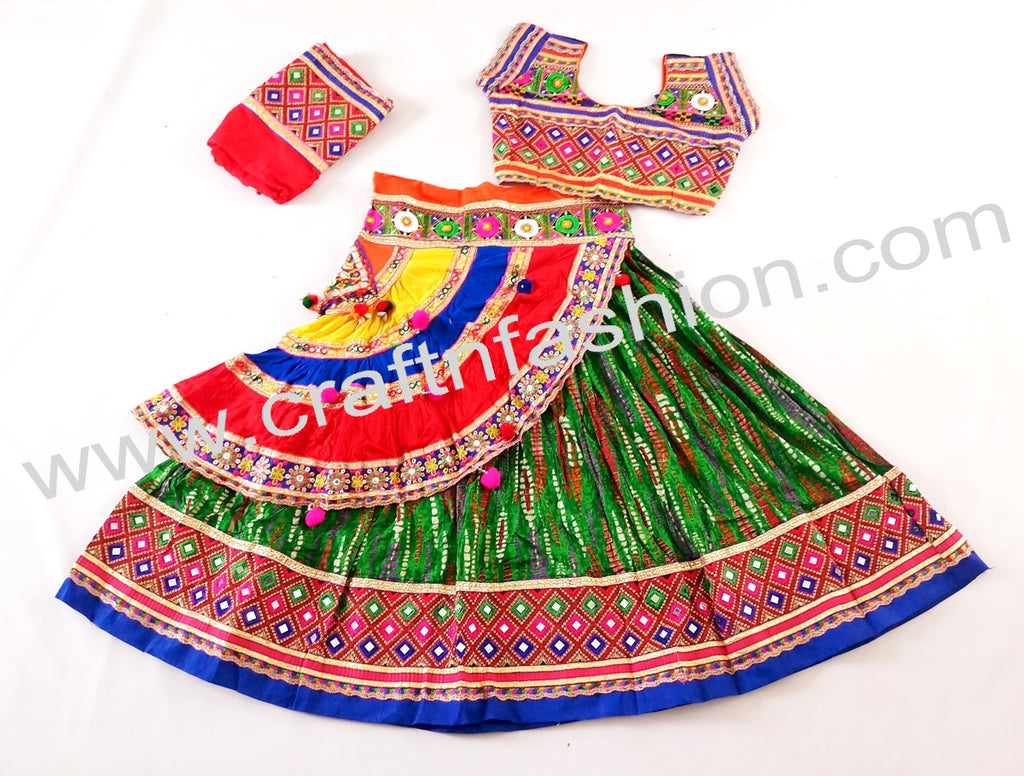 Indian Fusion Navratri Wear Multi Colored Lehenga