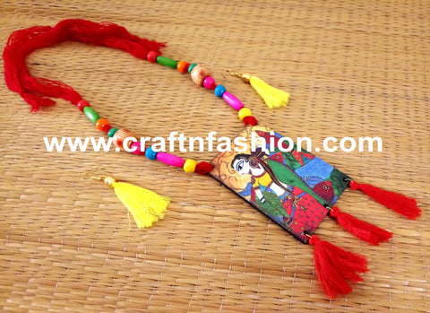 Beaded Handcrafted Wood Pendant Necklace