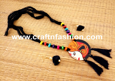 Black Colored Cotton Thread Necklace