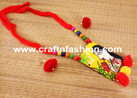 Wooden Hand Painted Pendant Neck Piece