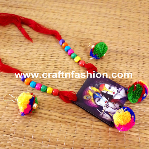Lord Radha Kishan Painted Pom Pom Necklace