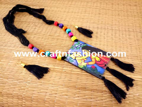 Lord Ganesha Painted Fringe Necklace
