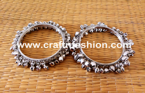 Afghan Style Silver Plated Ghungroo Bracelet