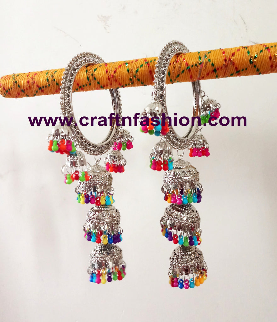Silver Plated Indian Jhumka Bangles