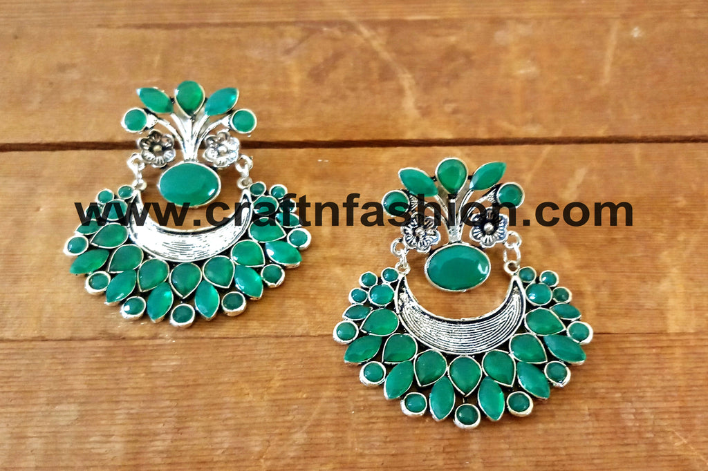 Bollywood Style Party Wear Silver Plated Earrings