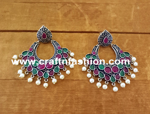 Victorian Style Designer Silver Plated Earrings