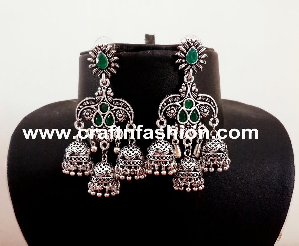 Traditional Stone Beaded Oxidized Jhumka