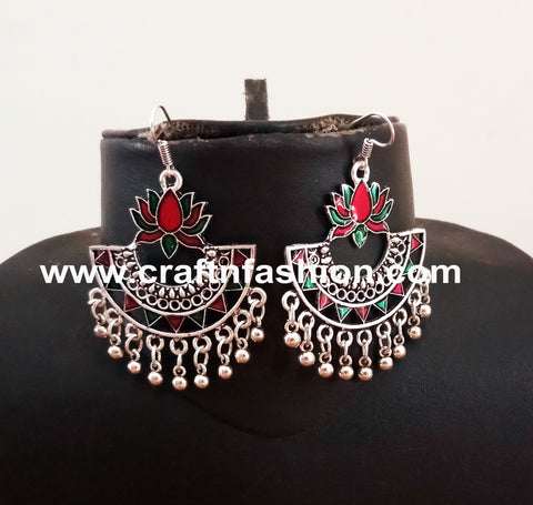 Lotus Design Silver Plated Navratri Wear Earrings