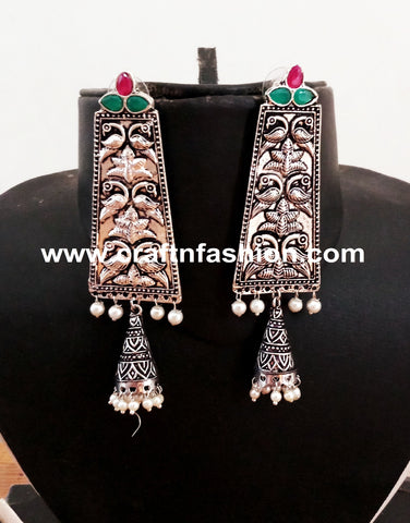 Stone Beaded Victorian Style Pakistani Earrings