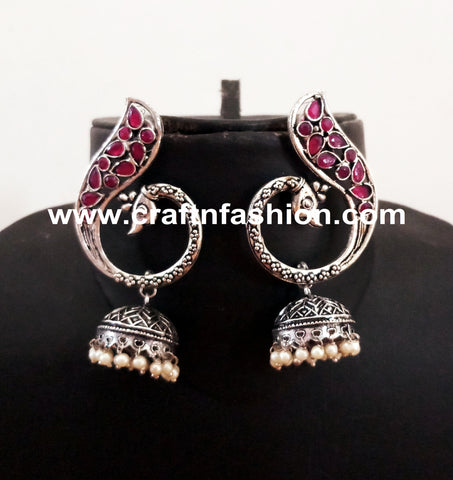 Peacock Style Stone Beaded Dangle Earrings