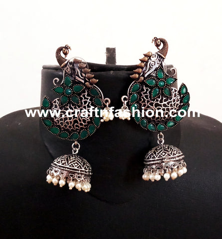Peacock Design Stone Beaded Earrings