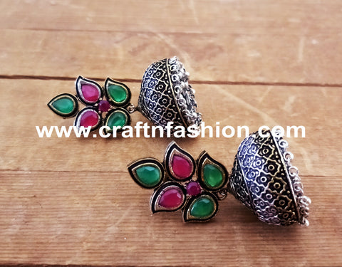Colored Stone Beaded Pakistani Earring