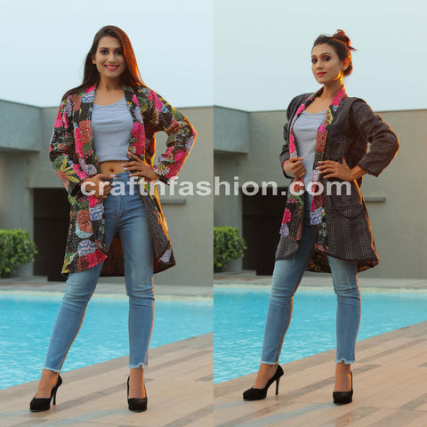 Bohemian Kantha Embroidery Jacket