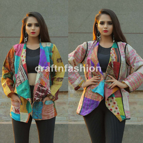 Fashion Wear Kantha Shrug Jacket
