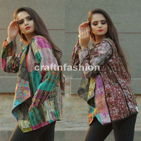 Kantha Embroidery Shrug-Bohemian Reversible Jacket