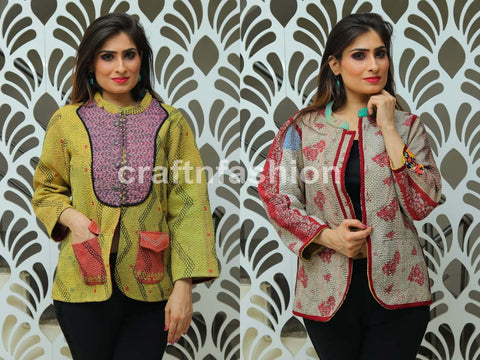 Designer Winter Wear Kantha Jacket