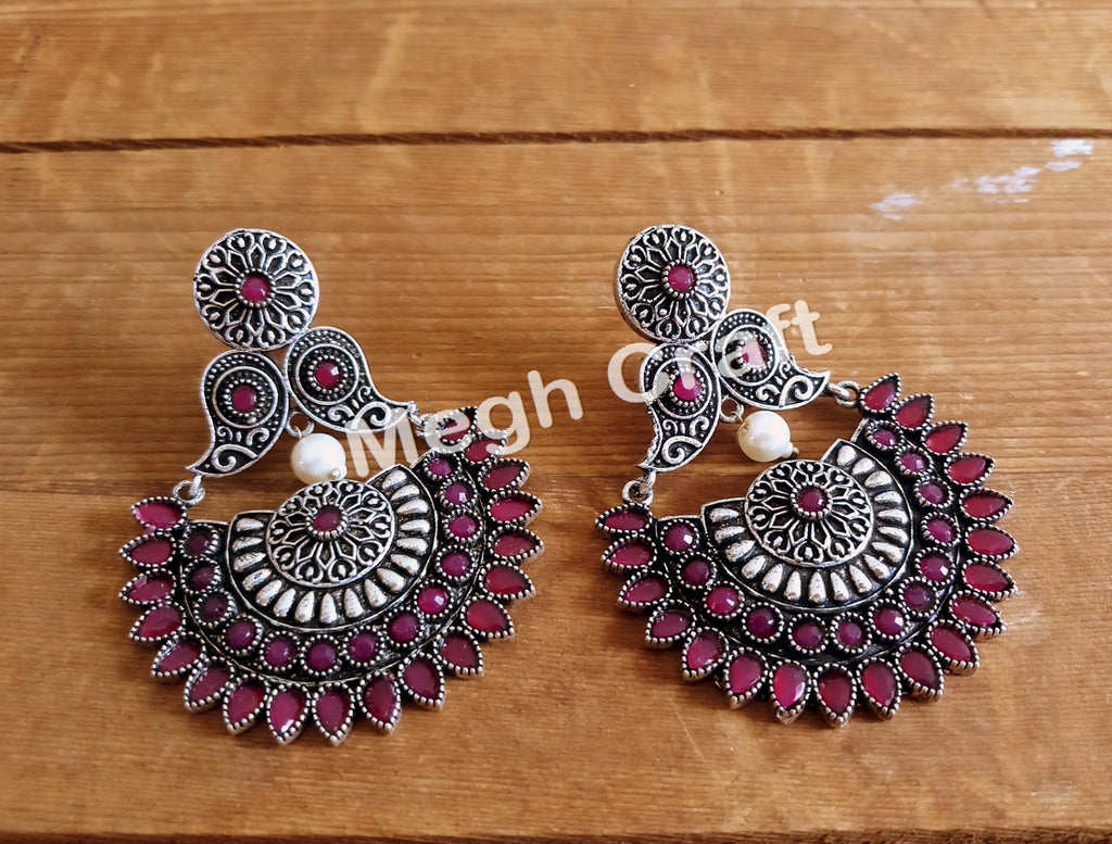 Afghan Style Stone Beaded Oxidized Earrings