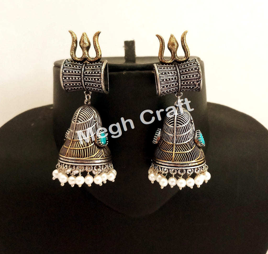 Trishul Damru Design Devotional Earrings