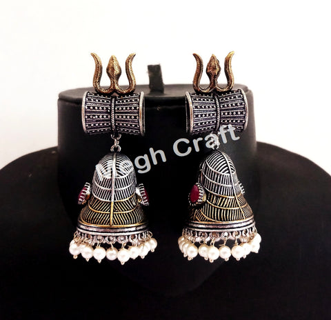 Designer Damru Trishul Design Earrings