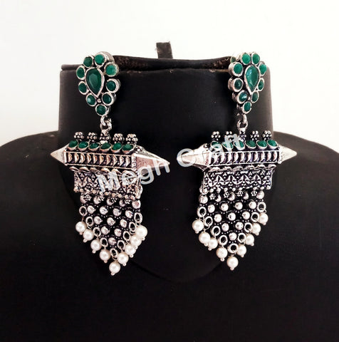 Indian Party Wear/Festive Wear Oxidized Earrings