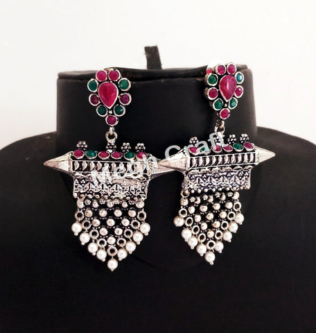 Colored Stone Beaded Afghan Style Earrings