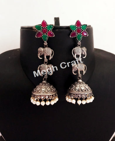 Indian Elephant Design Jhumka Earrings
