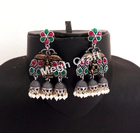 Exclusive Goddess Laxmi Design Oxidized Earrings