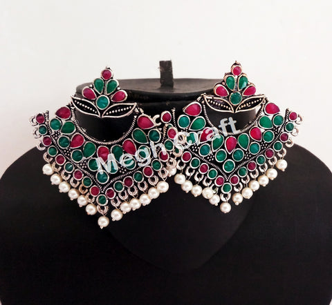 Indian Traditional Pearl & Stone Beaded Earrings