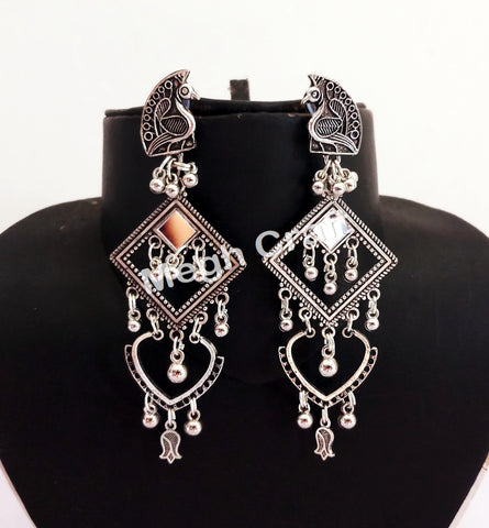 Designer Party Wear Silver Plated Earrings