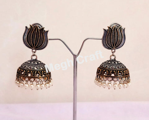 Lotus Design German Silver Jhumka