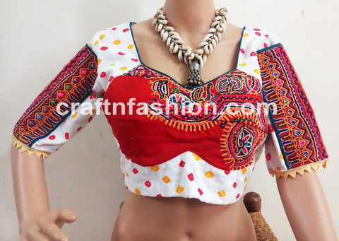 White Colored Bandhej Kutch Patch Blouse