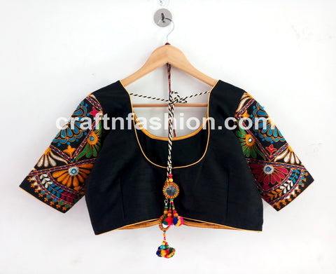 2019 Colorful Cotton Thread Work Navratri Blouse