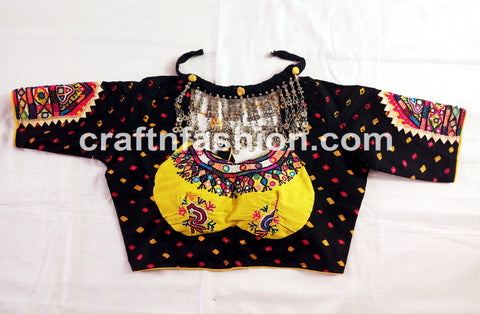 Mirror Work Navratri Festival Wear Bandhej Blouse