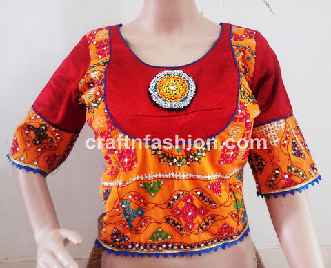 Tikki Work Embroidered Navratri Blouse Top