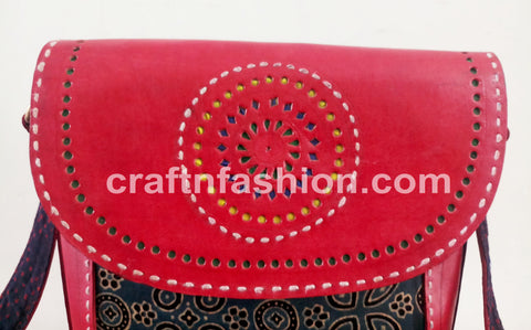 Ajrakh Fabric Leather Cut Work Bag