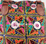 Embroidered Shoulder Bag with Leather Belt