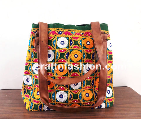 Multicolored Mirror Work Tote Bag